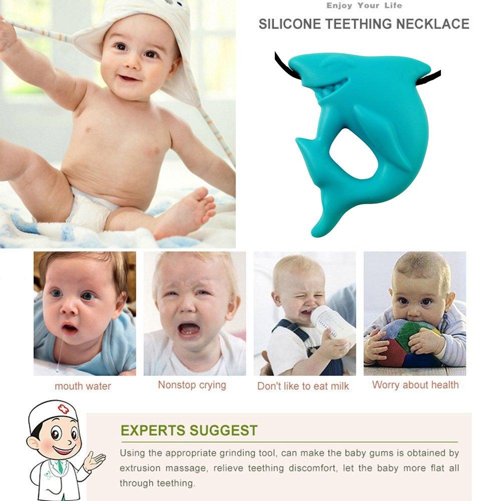 vert Inchant silicone mignon de requin Pendentif doux Croquer Teether Collier Sans BPA et FDA Apporved