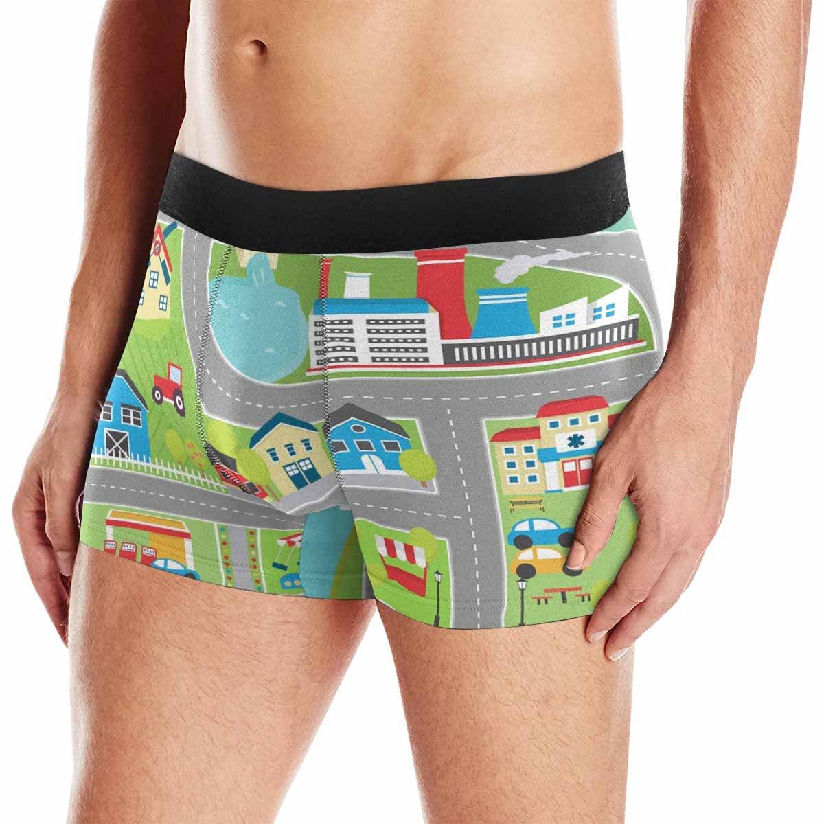 XS-3XL INTERESTPRINT Boxer Briefs Mens Underwear Childrens Educational Playtime Road Map City Landscape Map