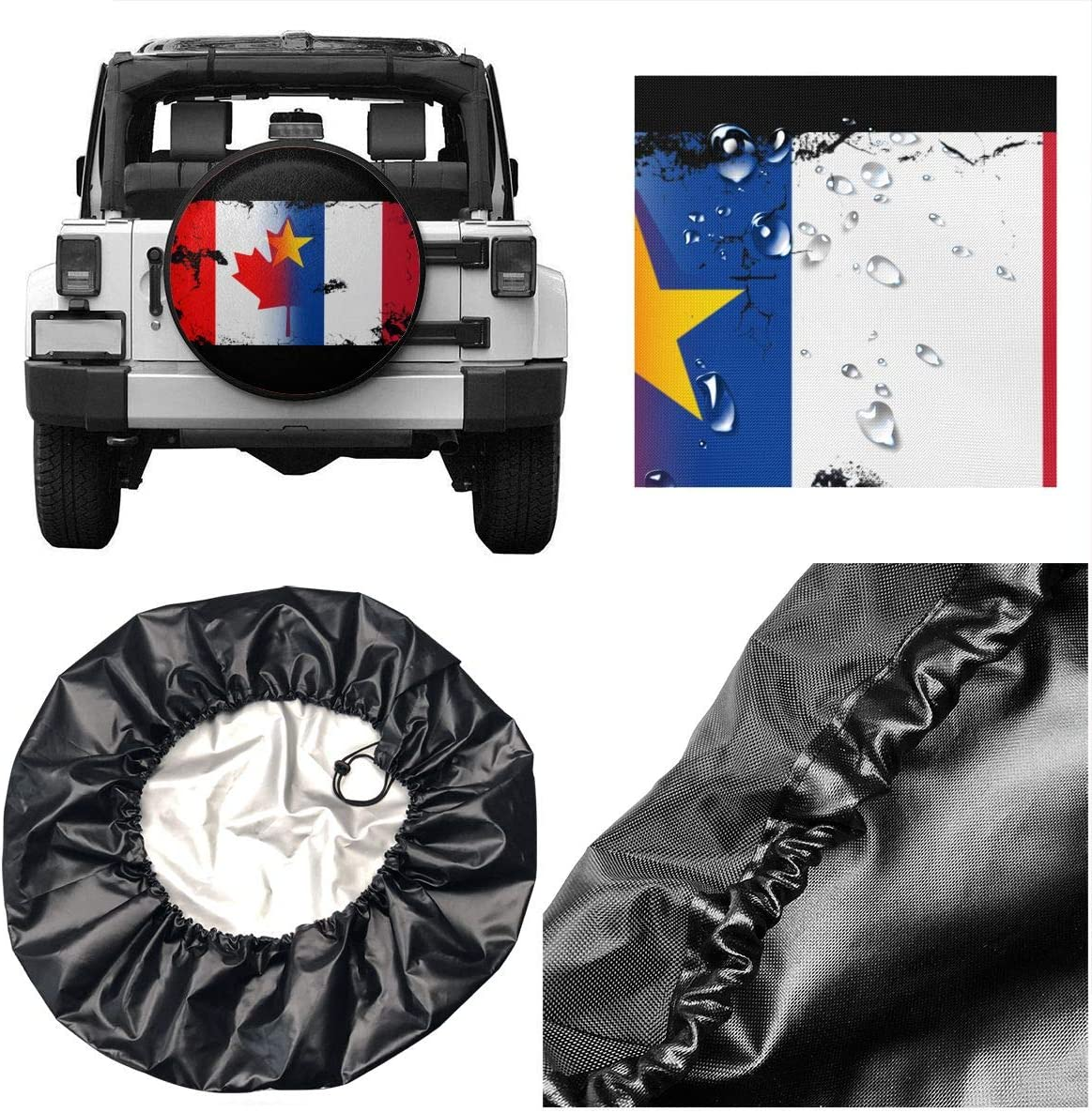 14,15,16,17 Inch Acadian Canada Mix Flag Spare Wheel Tire Cover Waterproof Travel Accessories for Trailer RV SUV Truck Camper