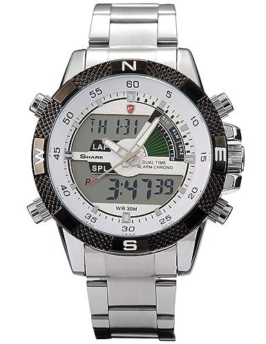 Shark SH046 - Reloj Hombre de Cuarzo, Correa de Acero Inoxidable Plateado: Amazon.es: Relojes