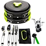 17Pcs Camping Cookware Mess Kit (4 COLORS: GREEN, ORANGE, BLACK, BLUE) Backpacking Gear & Hiking Outdoors Bug Out Bag Cooking Equipment Cookset | Lightweight & Durable Pot Pan Bowls