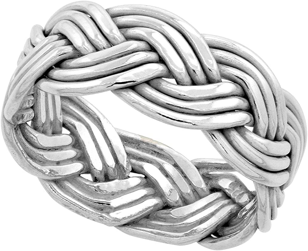 Sterling Silver Wire Braided Ring Handmade 3/8 inch wide