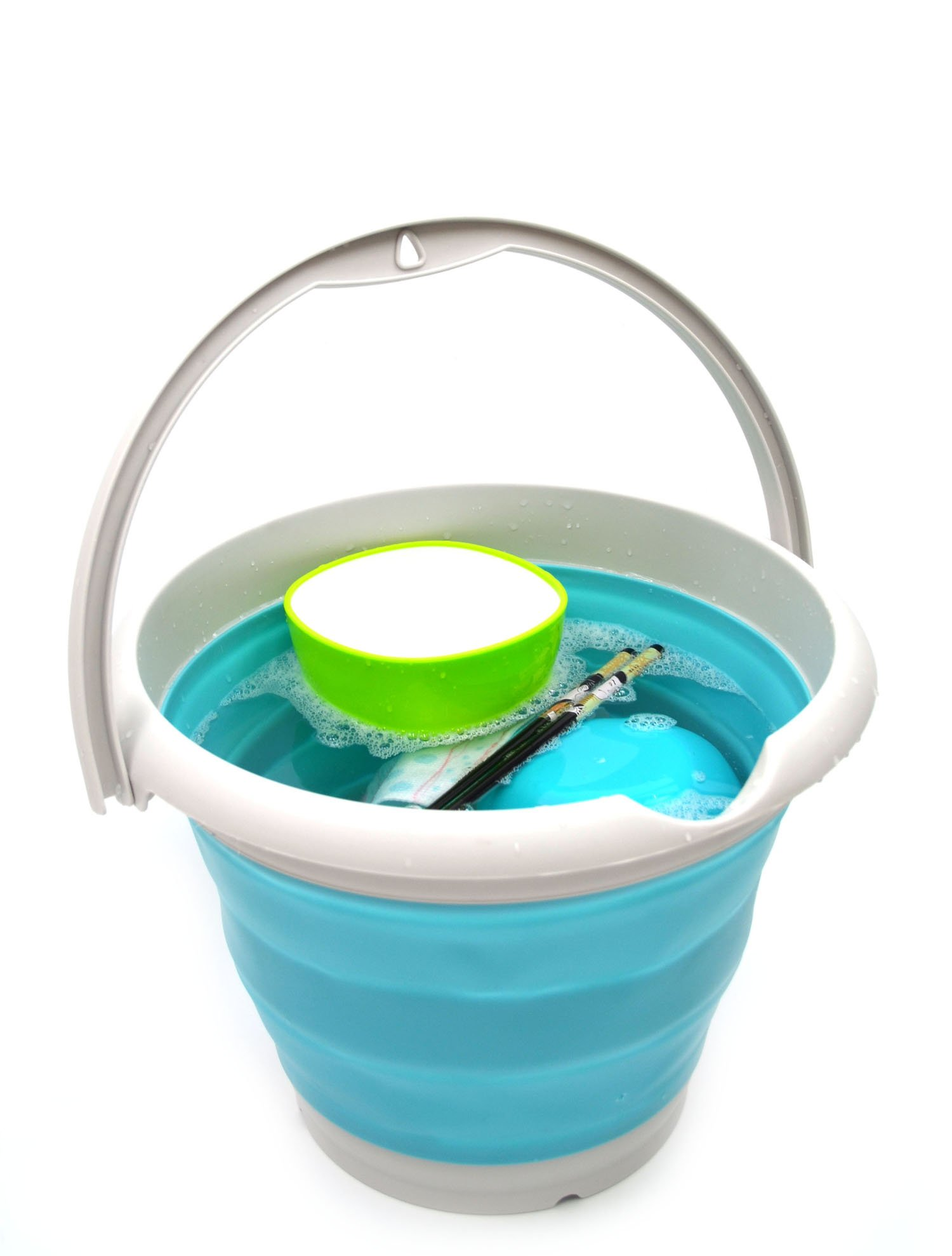 SAMMART 10L (2.6 Gallon) Collapsible Plastic Bucket - Foldable Round Tub - Portable Fishing Water Pail - Space Saving Outdoor Waterpot, size 33cm dia (1, Bright Blue) by SAMMART (Image #6)