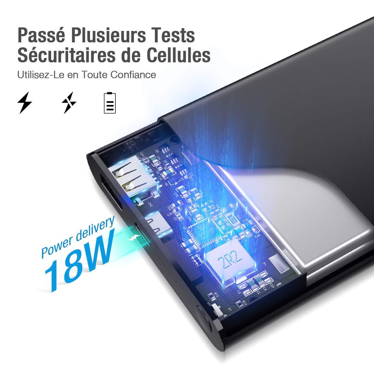 POWERADD Pilot 2GS Pro Batterie Externe PD 18W 10000mAh Charge Rapide avec USB Type C Entrée et Sortie Ultra Mince à 15mm Chargeur Portable pour Huawei, PC, Samsung, Wiko, etc.