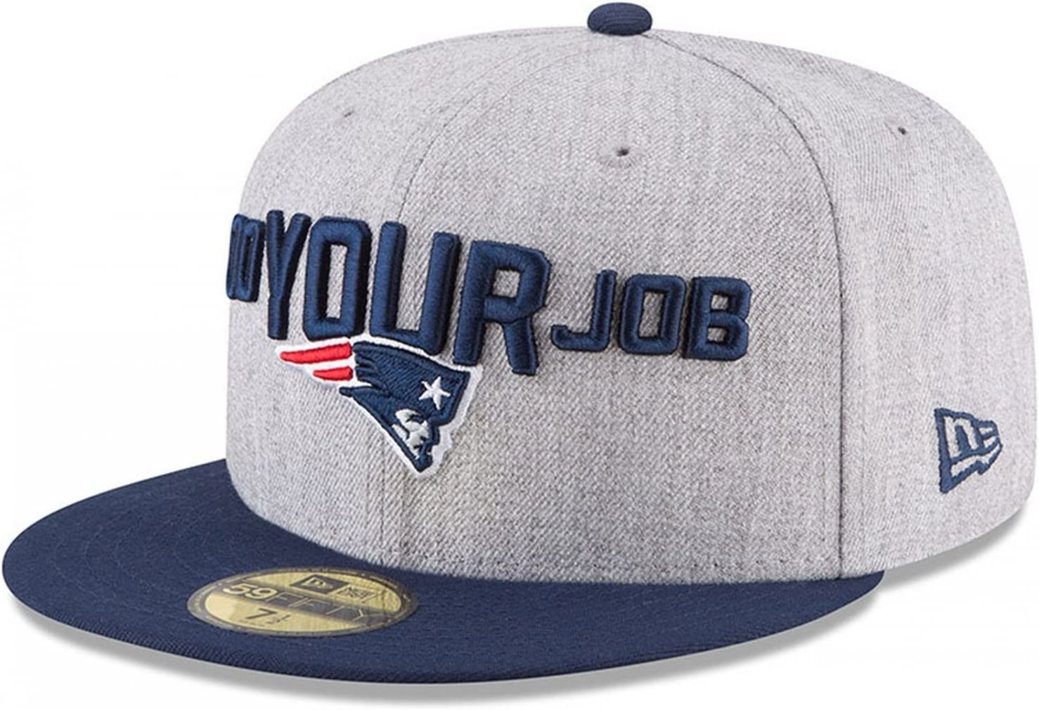 New Era New England Patriots Heather Gray//Navy 2018 NFL Draft Official On-Stage 59FIFTY Fitted Hat