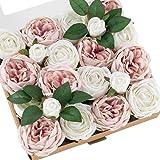 Ling's moment Artificial Flowers Silk Austin Roses Silk Flowers Artificial Roses w/Stem for Wedding Bouquets Centerpieces Par