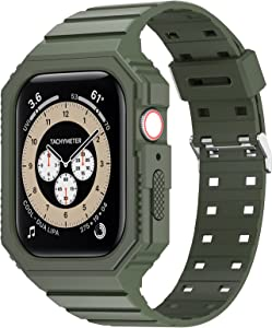 KRISVI Band Compatible with Apple Watch Band 38mm 40mm, TPU Rugged Sports Band with Protection Case for Men Women, iWatch Bands Replacement Wristband for iWatch Series 6 5 4 SE (Army Green-38/40)