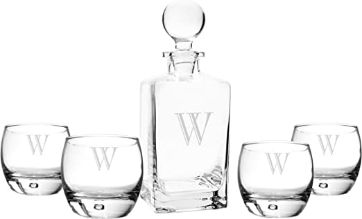 Letter A Cathys Concepts Personalized Square Whiskey Decanter Set