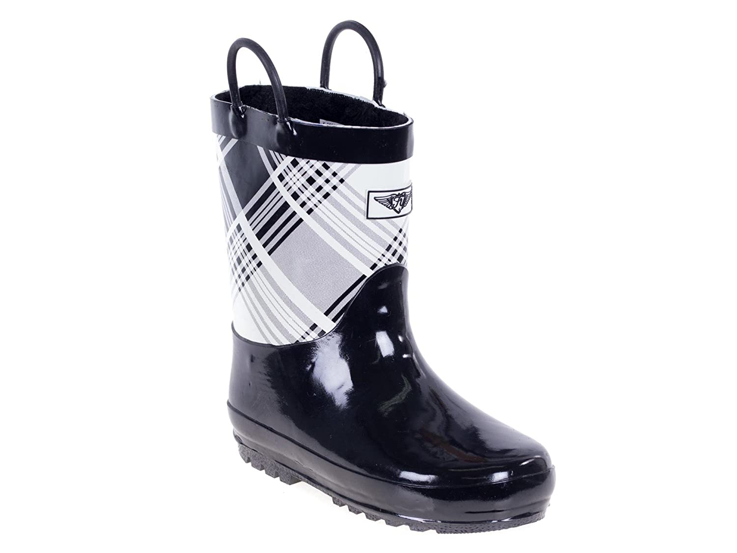 Forever Young Kids Rubber Pull Up Solid and Plaid Print Rainboots