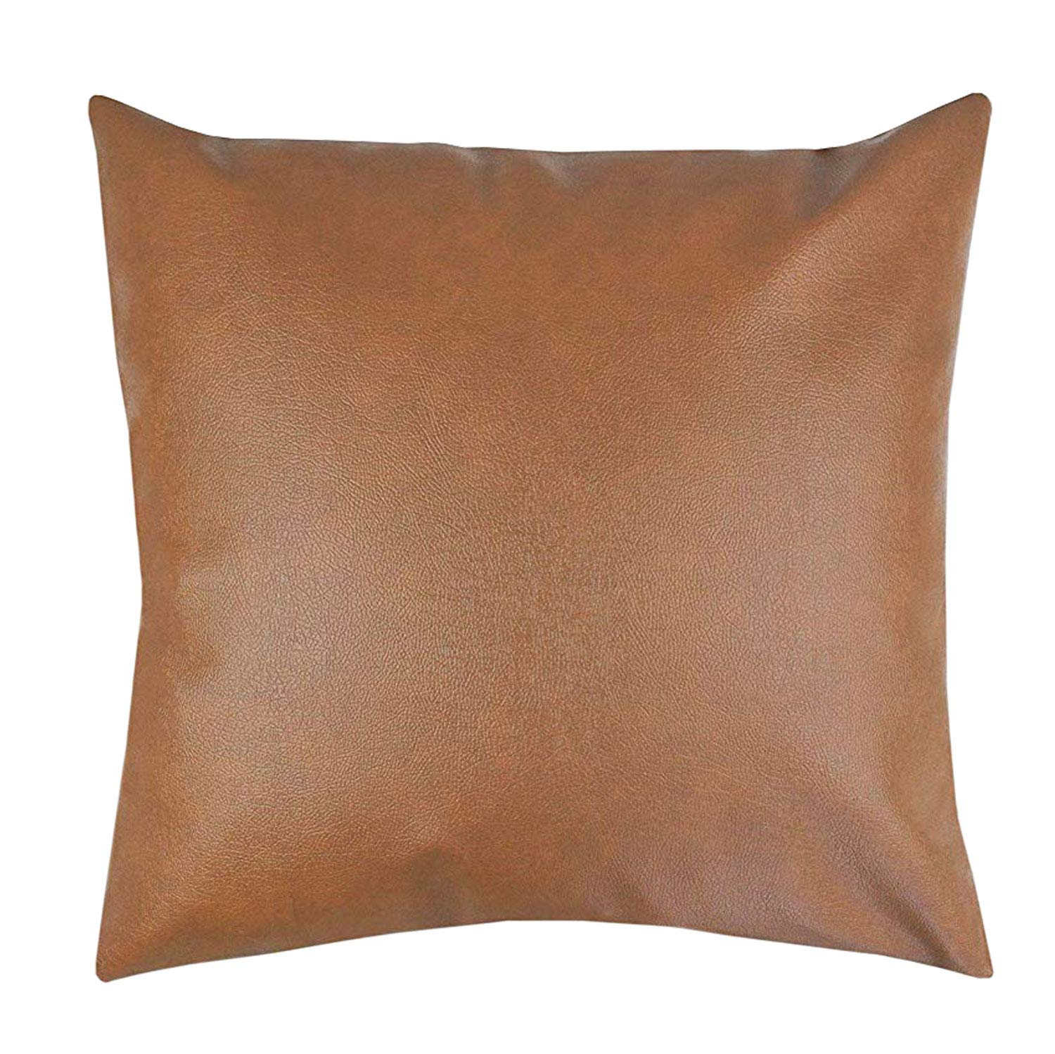 Two Queens Lane Faux Leather Pillowcase Throw Pillow Covers - Modern Boho Chic Brown Faux Leather Decorative Throw Pillows Cases Only for Couch Bed Home Decor   18x18 Pillow Cover