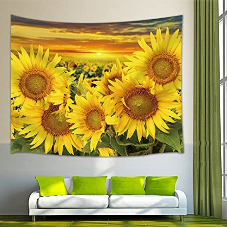 Amazon.com: NYMB Wall Art Home Decor Sunflower at Sunset Tapestry ...