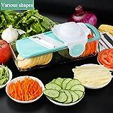Mandolines de Cuisine Baban 6 en 1 Trancheuse de Légumes à Mandoline, Coupeur de Fruits et Fromages, Récipient de Nourriture + Planche de Plongée + 3 Lames Interchangeables