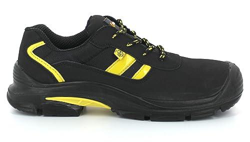 Foxter - Zapatos Deportivos de Seguridad | Zapatillas de Trabajo para Hombre | Ligeros y Transpirables | Impermeable | Sin Metal | Piel Negra | ESD : ...