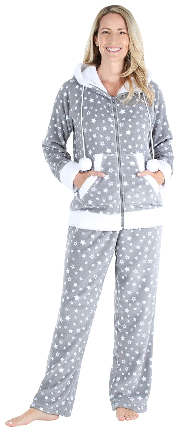Frankie /& Johnny Womens Fleece 2-Piece Full Zip Hooded Jacket Loungewear Set
