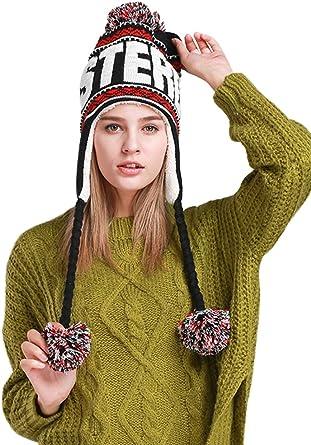 Bonnet P/éruvien en tricot avec pompons et doublure en polaire pour femme