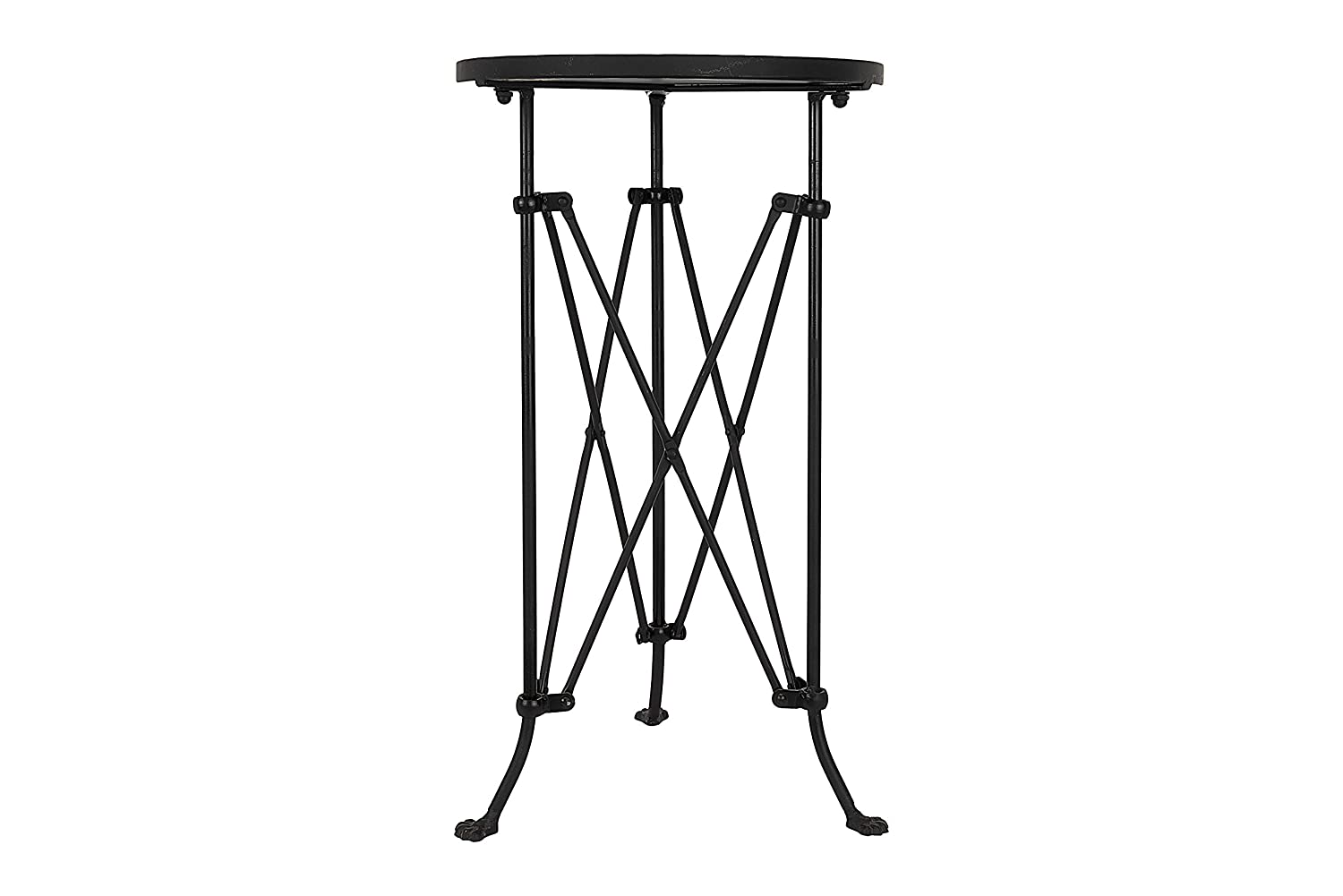 Round black accent table with accordion style base and feet