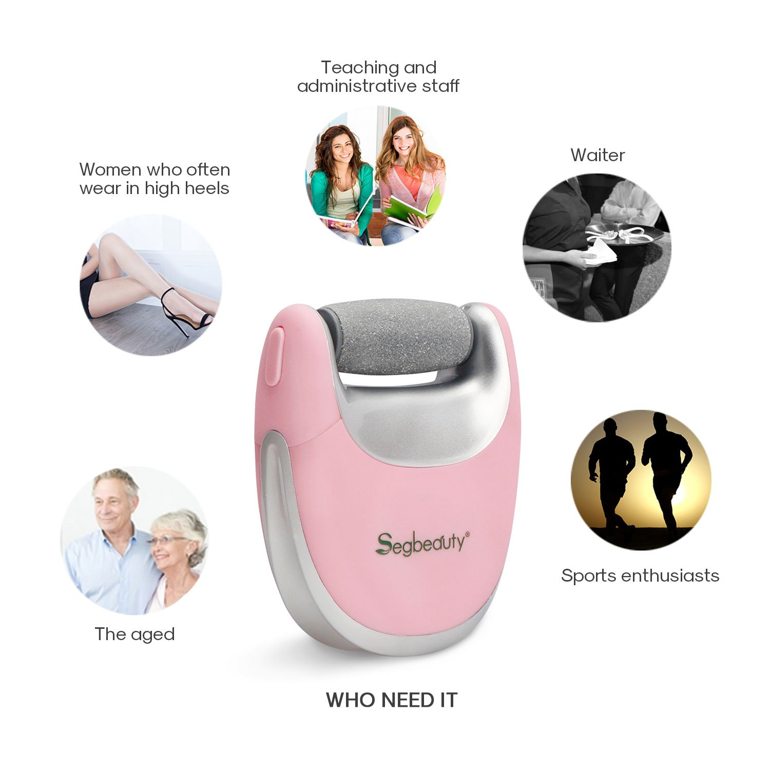 Segbeauty Elecric Callus Remover, Portable USB Rechargeable Pedicure Callus Instant Clear Remover, Travel Friendly, 2 Speeds Foot Care Callus Eliminator Foot File for Cracked Hard Dehisced Heels Skin by Segbeauty (Image #7)