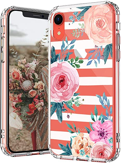 MOSNOVO Cover iPhone 8 Cover iPhone 7 Strisce Floreali
