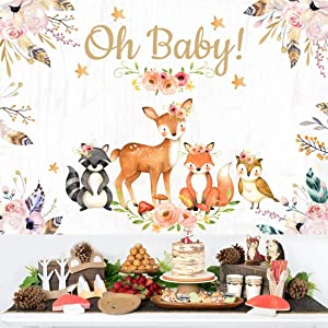 Woodland Baby Shower Backdrop Decorations Jungle Animals Theme Party Supplies Girl Pink Floral Banner Decor Vinyl Oh Baby Photography Background for Birthday Party 5x3ft