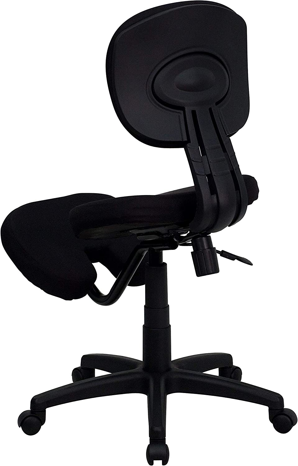 A Line Furniture Black Fabric Mobile Kneeling Posture Office Chair with Padded Seat and Knee Rest