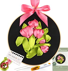 Caydo Ribbon Embroidery Kit with 3D Ribbon Embroidery Tulip Pattern Design Embroidery Beginner Kits for DIY Handwork Home Decoration Wall Decor