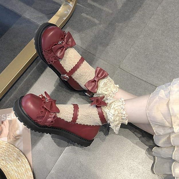 Mediffen Womens Lolita High Heels Buckle Strap Bowknot Platform Pumps