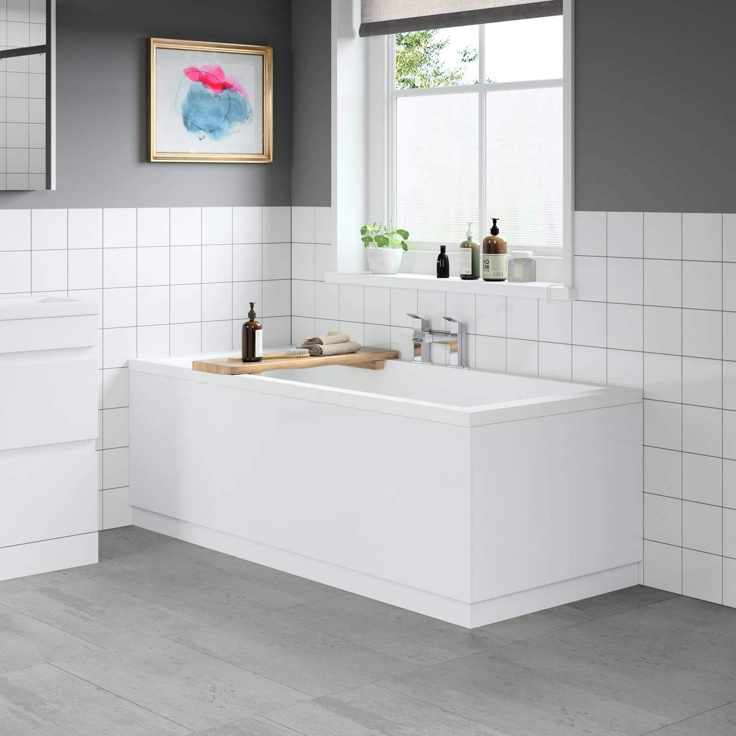 Modern Bathroom 1800 Front & 800 End Bath Panel Pack 18mm MDF White Gloss Plinth