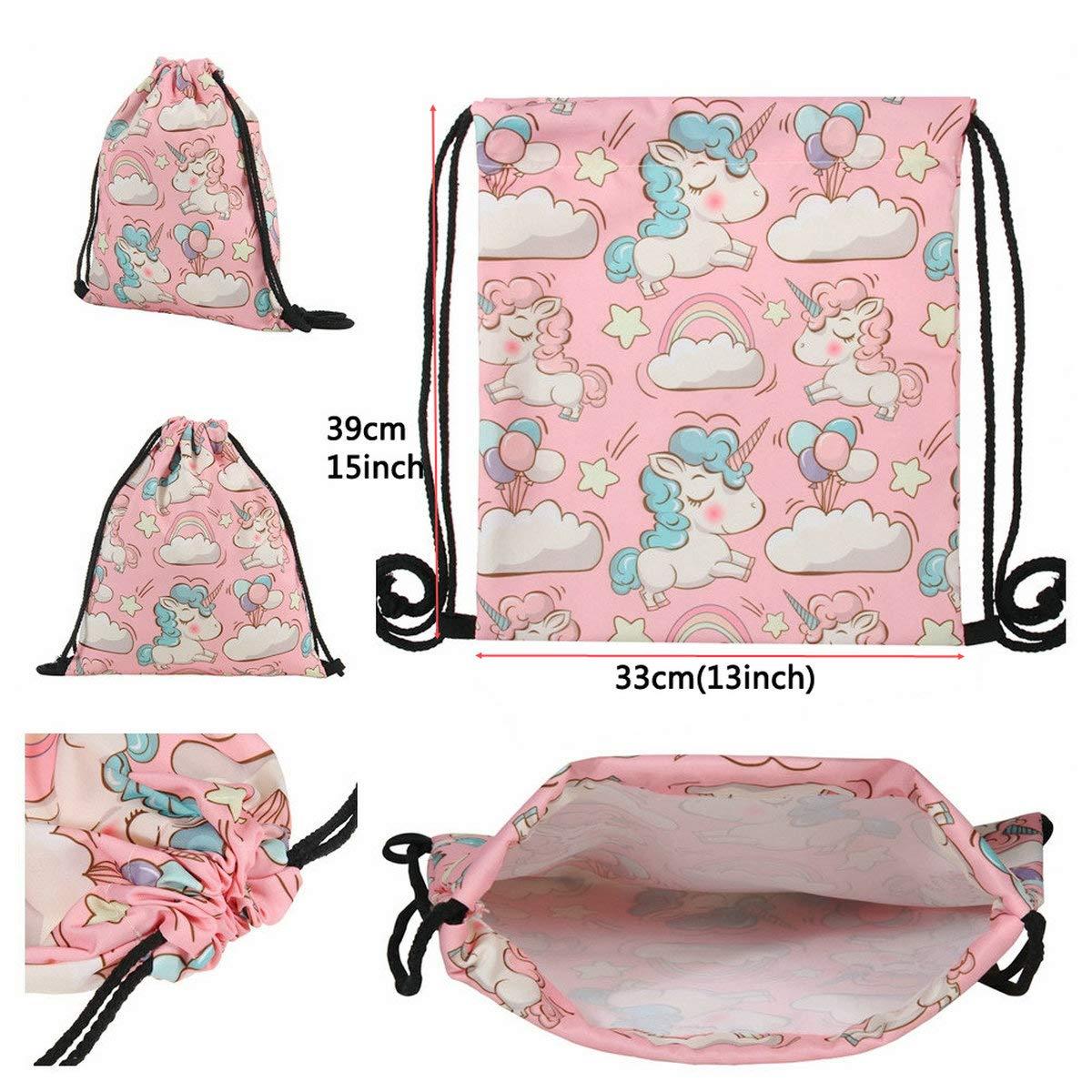 Cadeaux anniversaire licorne sac /à cordon rose porte-monnaie sac de maquillage sac collier bracelet accessoires cheveux sac charmes et tatouages temporaires