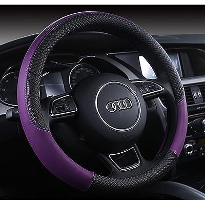 "Follicomfy Automotive Steering Wheel Cover Leather Anti Slip Wrap 15"",Purple: Automotive"