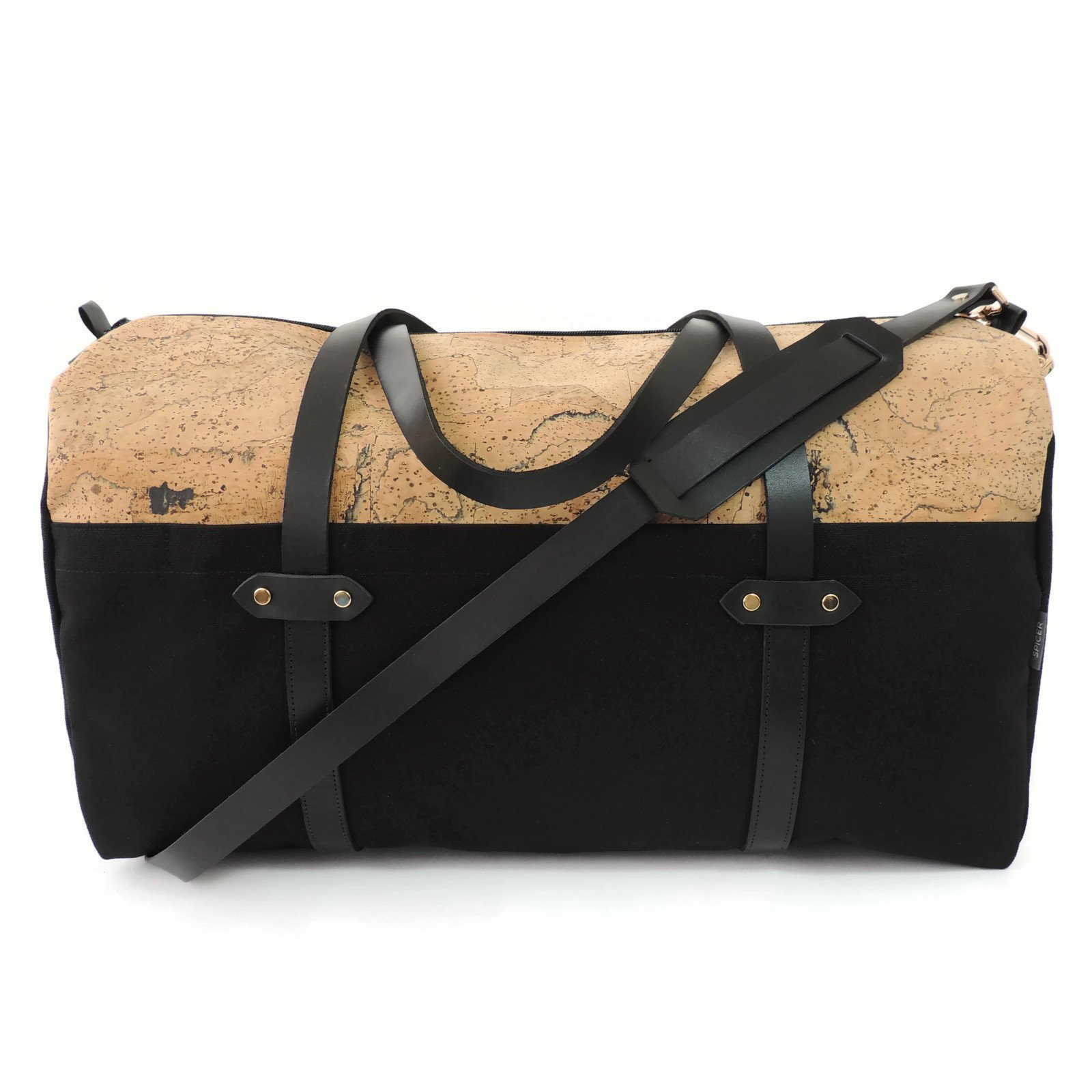 Marble Cork and Black Canvas Duffle Bag Weekender by Spicer Bags