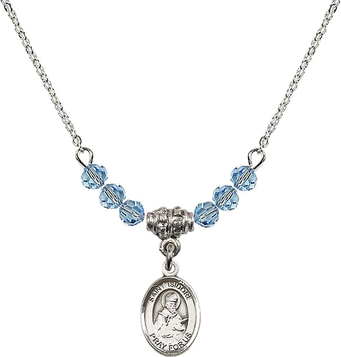Bonyak Jewelry 18 Inch Rhodium Plated Necklace w// 4mm Blue March Birth Month Stone Beads and Saint Isidore of Seville Charm