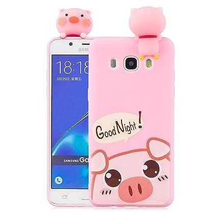 Funluna Funda Samsung Galaxy J7 2016, 3D Cerdo Patrón Ultra Delgado TPU Cover Suave Silicona Carcasa Gel Anti-Rasguño Protectora Espalda Bumper Case ...