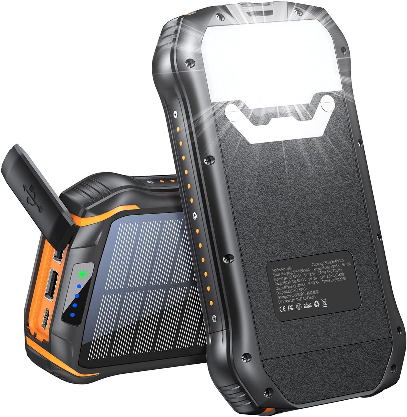Solar Charger 33500mAh, Portable Power Bank,PD 20W QC Black + orange