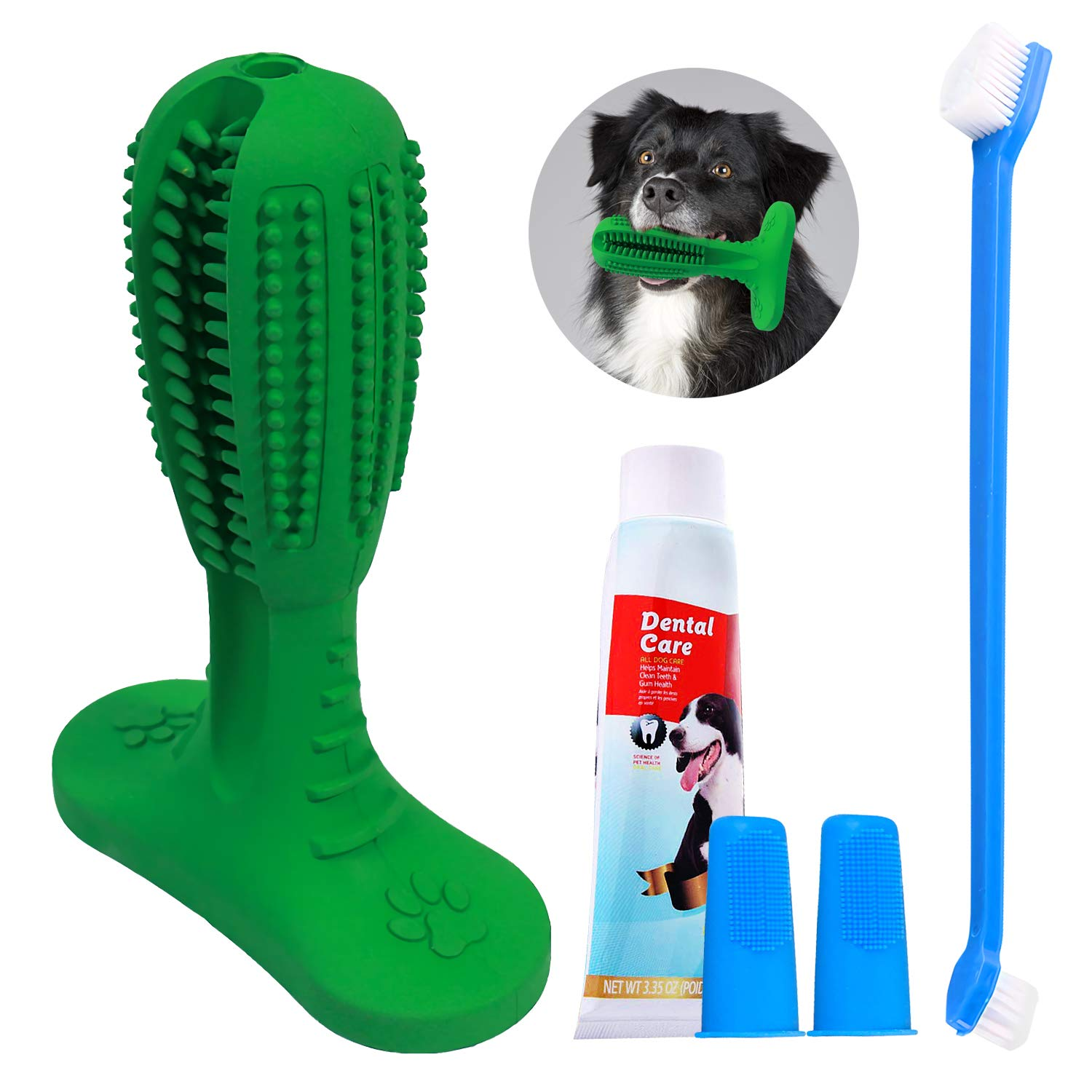 All Prime Dog Toothbrush Toy - Aug 2019 Upgrade- Also Included Free ($8 Value) Dog Teeth Cleaning Kit with 3 Dog Toothbrushes + Toothpaste - Dog Toothbrush Chew Toy deep Cleans - Dog Toothbrush Stick by All Prime