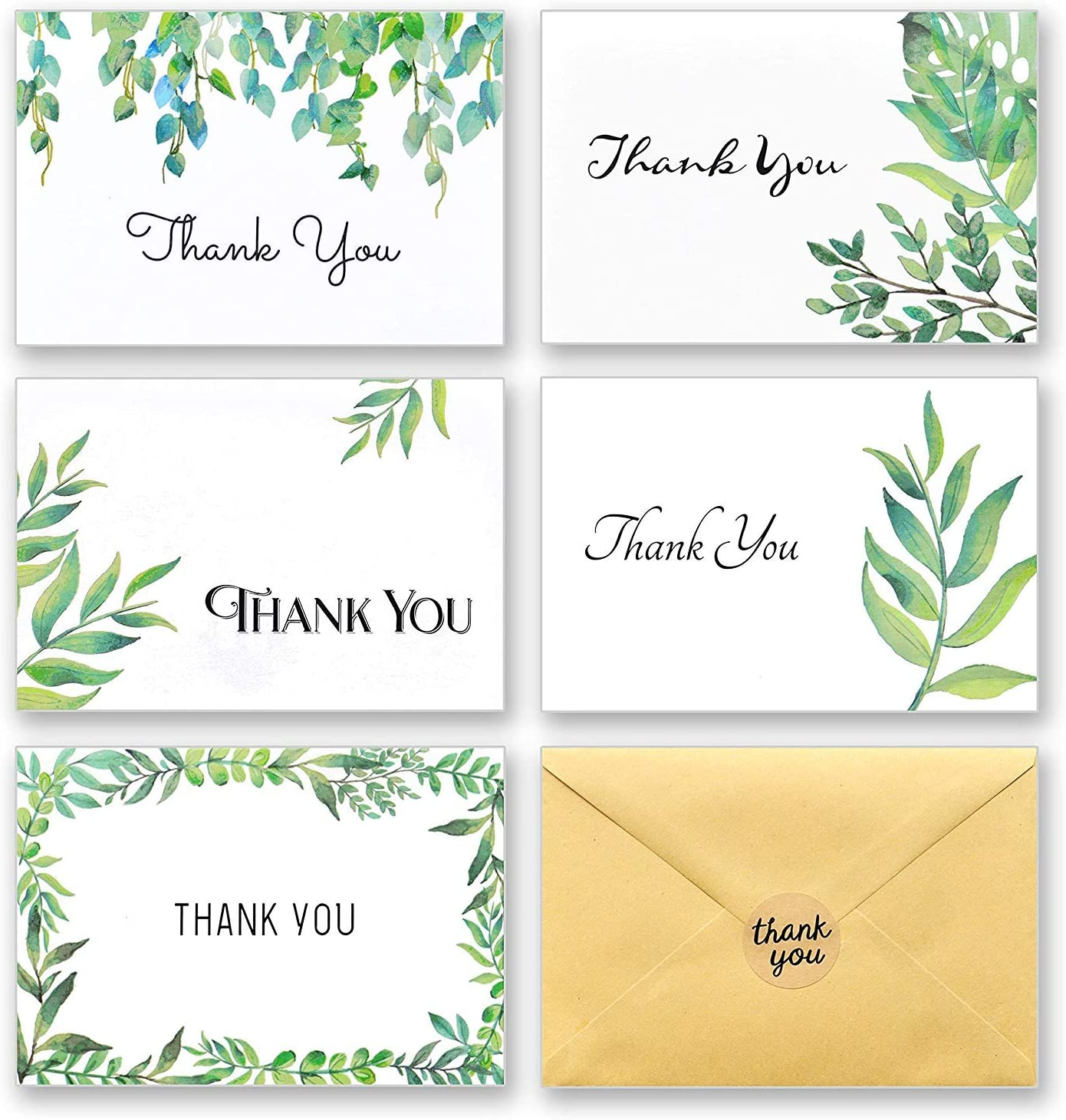 100 Thank You Cards with Envelopes and Stickers - White Kraft Paper Watercolor Floral, Greenery Leaves Bulk Notes for Gratitude - 5 Design Foliage Cards for Wedding, Baby Shower and All Occasions 4x6