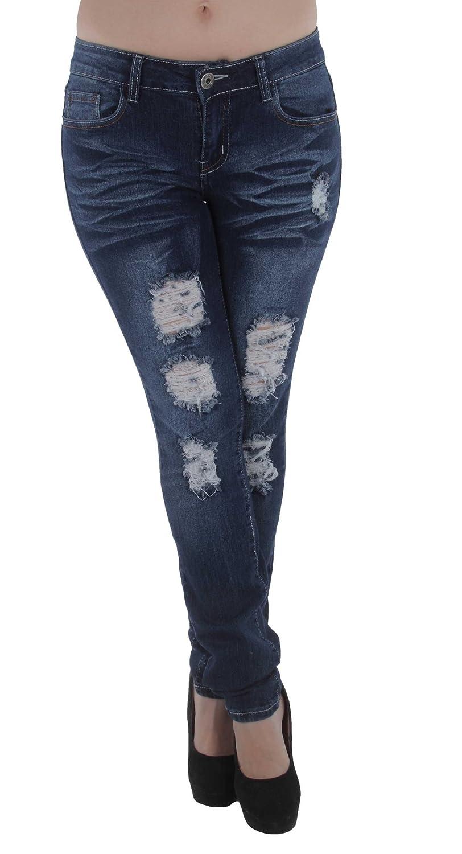 Plus Size Mid Waist Colombian Design Butt Lift Ripped Skinny Denim Jeans