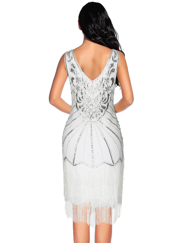 Womens 1920s Flapper Chest Pendant Art Deco Cocktail Fringe Dresses