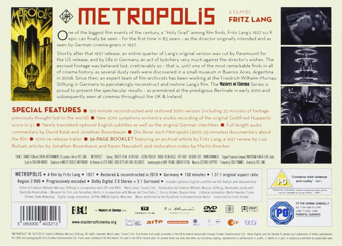 Metropolis Reconstructed & Restored Masters of Cinema DVD Reino ...