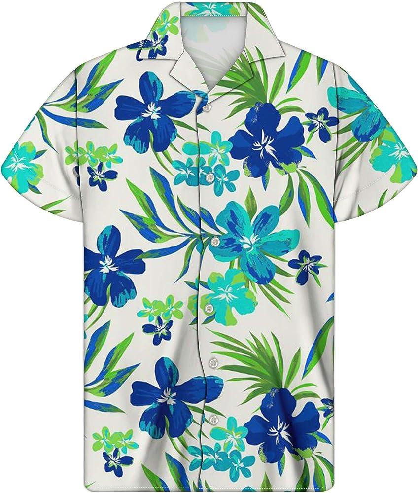 Agroupdream - Camisa Hawaiana para Hombre, Manga Corta, diseño Casual con Botones, Talla 2XS-4XL Blanco Floral Azul XX-Small: Amazon.es: Ropa y accesorios