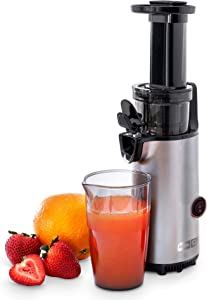 Dash DCSJ255 Deluxe Compact Power Slow Masticating Extractor Easy to Clean Cold Press Juicer with Brush, Pulp Measuring Cup, Frozen Attachment and Juice Recipe Guide, Graphite (Renewed)