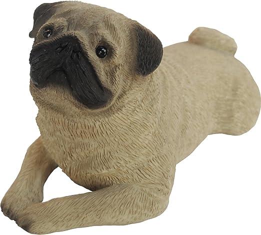 Lying Sandicast Life Size Fawn Pug Sculpture