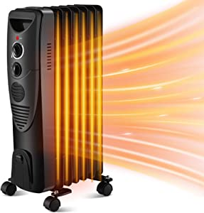 Kismile 1500W Oil Filled Radiator Heater, Portable Electric Heater with Adjustable Thermostat & Overheat Protection, 3 Heat Settings Oil Heater for Home/Office (Black)