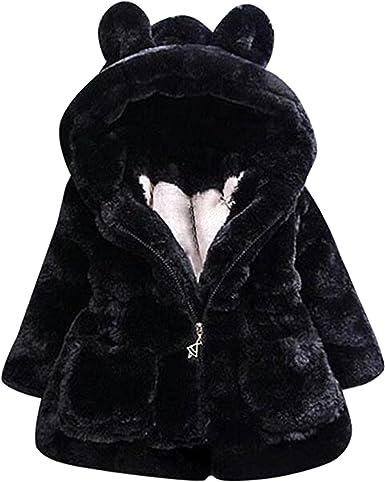 Bai You Mei Baby Girls Toddler Kids Faux Fur Winter Cotton Warm Jacket Coat Outerwear Hood Hoodie