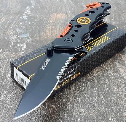 TAC-FORCE KNIVES Assisted Opening Rescue Knives BLACK ORANGE EMT Tactical Knife (1 Knife)