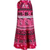 ForeMode Women Boho Print High Waist Side Wrap Bohemian Asymmetric Hem Maxi Long Skirt One Size