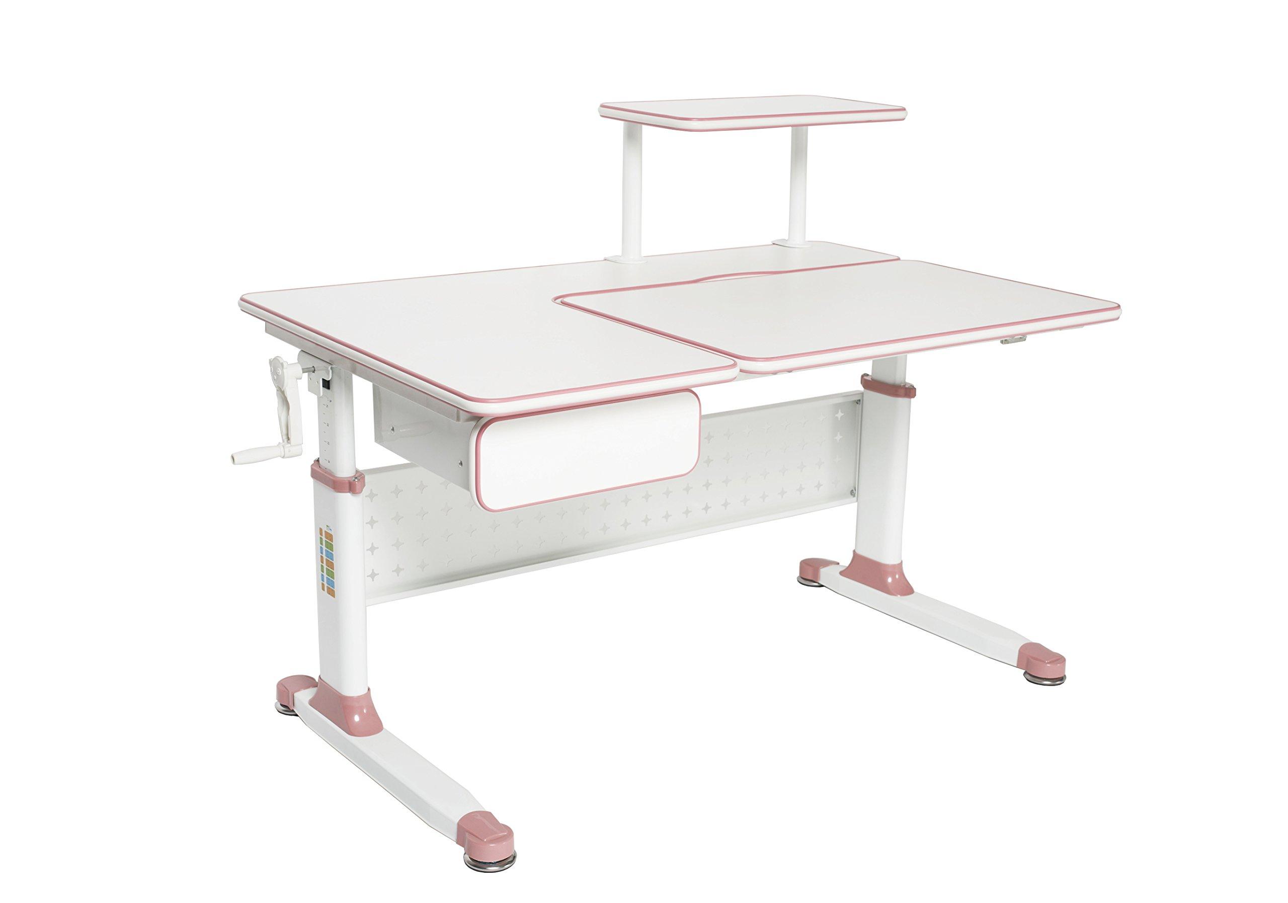 ApexDesk Little Soleil DX 43''W Children's Height Adjustable Study Desk w/ Integrated Shelf & Drawer (Pink Desk Only)