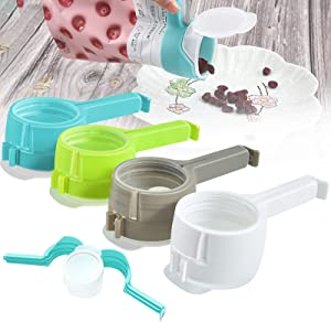 Bag Clips for Food, Food Storage Sealing Clips with Pour Spouts, Kitchen Chip Bag Clips, Plastic Cap Sealer Clips, Great for Kitchen Food Storage and Organization
