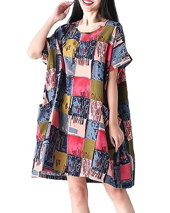 06ce970c1b ACHIOOWA Women s Floral Print Short Sleeve Mini Shirt Dresses Casual Loose  Baggy Tunic Kaftan Plus Size