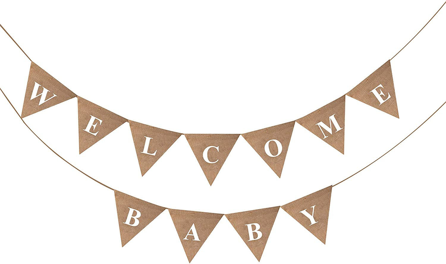 Amazon Com Boston Creative Company Llc Welcome Baby Burlap Baby Shower Banner Welcome Baby Home Decor Birthday Decor Spring Shower Baby Photo Props Baby Announcement Kitchen Dining