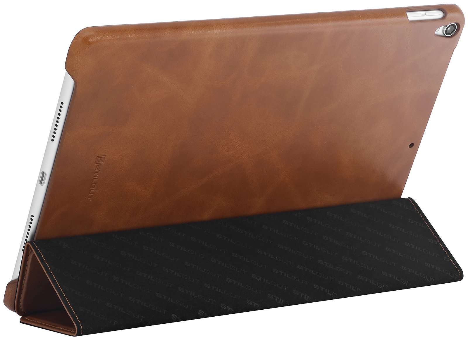 StilGut iPad 10.5 Case, Leather Flip Cover with Stand Function and Auto Sleep Wake Feature for Apple iPad Pro 10.5 Inch, Cognac Brown
